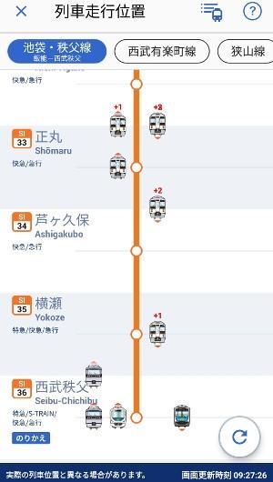 2019年1月27日 9時27分ころ、西武線アプリの列車位置情報画面。