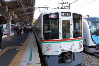 2019年1月27日 9時35分ころ、芦ケ久保、左から10102Fの20レ、4005F+4001Fの1003レ、40103Fの回送列車。