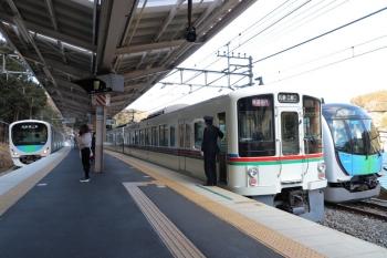 2019年1月27日 9時37分ころ、芦ケ久保、左から38110Fの5020レ、4005F+4001Fの1003レ、40103Fの回送列車。38110Fは1本目の臨時・西吾野ゆきだった車両です。