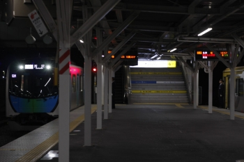 2019年3月1日。所沢。4番ホームへ到着する40102FのS-Trainの501レ。東急4110Fの3705レがS-Trainからの乗客を待ってます。