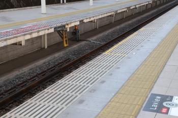 2019年3月16日。入間市駅。2番ホーム池袋方に設置されたLaviewの8号車の乗車位置目標(手前)と、1番ホームの車掌さん位置のホーム床に描かれた赤☓印。