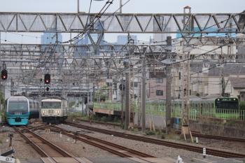2019年6月23日 9時29分ころ。池袋。折り返し、伊豆急下田へ向かう251系と、到着する185系の北行回送列車がすれ違い。右端には山手線・外回りのE235系。