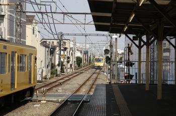 2009年6月27日 7時38分頃、椎名町、踏切をはさんで3列車が停車中