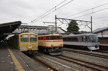 2009年10月4日 13時ころ、西武秩父、271Fと展示中のE34、発車を待つ10101(?)F。