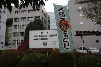 2009年10月25日、入間市役所前、「八高線 八王子・高麗川間 複線電化早期実現」宣言看板と祭りの幟。