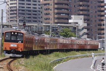 2010年5月16日、金子~東飯能、高麗川から河辺へ向かう201系のさよなら列車。