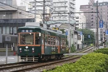 2010年7月1日、学習院下、阪堺カラーの7511の早稲田ゆき。