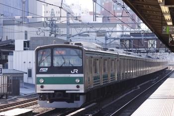 2011年1月22日、高田馬場、クハ204-97が先頭の埼京線下り列車。