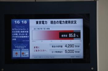 2011年7月17日16時20分頃、メトロ池袋駅の東電提供・「電力の使用状況」