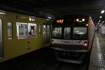 2011年8月7日 18時16分頃、所沢、4番ホームのメトロ10027F・各停 飯能ゆき。
