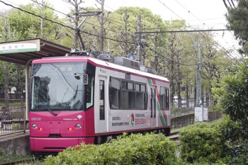 2012年4月20日、学習院下、車体広告が入った8802。