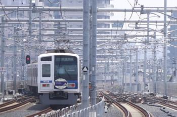2012年7月28日 10時53分頃、石神井公園、発車した6158Fの上り試運転列車(99M運用)。