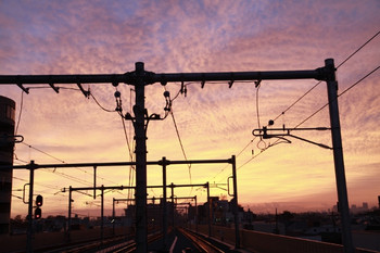 2012年11月11日 午前6時過ぎ、石神井公園、下りホームから東の空を撮影。