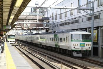 2013年2月9日、高田馬場、踊り子色185系の特急 あかぎ号(4008M)。