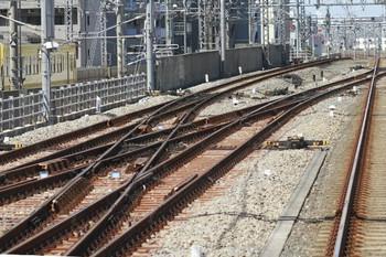 2013年8月28日、通過線に入った上り列車の最後部から撮影、練馬駅の上り線・飯能方のダブルクロッシング。