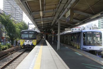 2013年8月28日、大泉学園、左が3011Fの5723レ、右が横浜高速鉄道Y513Fの6666レ。