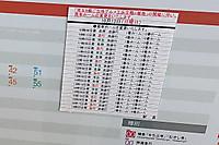 2013年10月13日、飯能駅の池袋方面ゆきホーム時刻表掲示。