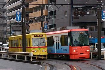 2013年12月20日8時34分頃、学習院下~面影橋、HMなし7001の早稲田ゆきほか。