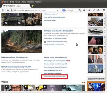 2014年6月30日20時ころ、BBCのアジア地域のニュースのトップページ。