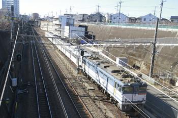 2015年1月18日 10時30分頃、新秋津、府中本町方から到着するEF65-2070+西武1247F。