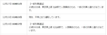 2015年12月31日21時半頃閲覧、東京メトロ有楽町線の運行情報履歴ページ抜粋。