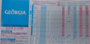 2016年4月10日、富士急行の駅で配布していた時刻表。