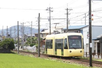 2016年7月10日 11時21分頃、サンドーム西、えちぜん鉄道車両(L-02編成)の急行 鷲塚針原ゆき。