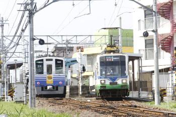 2016年7月11日 14時55分頃、新田塚、福井鉄道777ほかの急行 越前武生ゆきと7005ほかの三国港ゆき。
