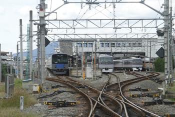 2016年9月25日 13時52分頃、西武秩父、左から20152Fの上り回送列車・10110Fの「ちちぶ」94号、10106Fの「ちちぶ」15号。