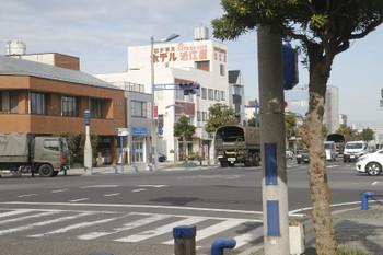 2016年12月13日、銚子駅近く、自衛隊のトラック3台。