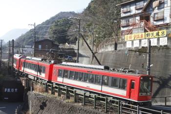 2017年1月4日 12時31分、箱根湯本、2003ほかの2連にアレグラが合体した3両編成。