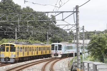 2017年8月12日、入間市、2465Fほかの2136レ(左)と4009Fの下り列車。