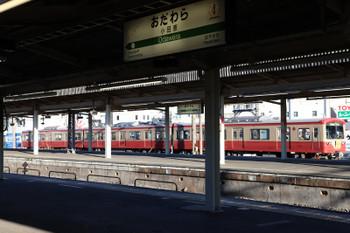 2018年1月3日 15時12分ころ、小田原、赤電塗装の大雄山線5000系。