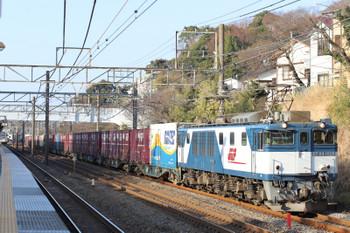2018年2月17日、大磯、EF64-1025牽引の上りコンテナ貨物列車。