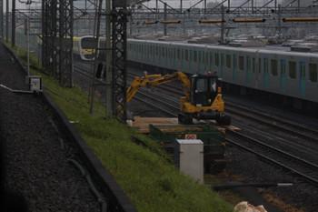 2018年5月24日 5時20分ころ、小手指車基、2番線の工事現場。上り列車から撮影。