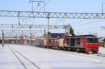 2017年12月10日 12時50分ころ、北広島、DF200-10牽引の苫小牧方面ゆきコンテナ貨物列車。