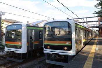 2018年8月26日 6時38分ころ、金子、タイプが異なる209系同士の交換。