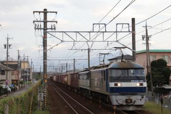 2018年9月9日 5時45分ころ、安倍川、EF210-161が無動力回送のEF65-2060を従えた下りのコンテナ貨物列車。