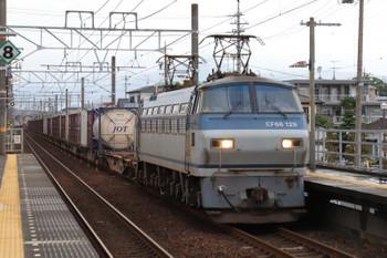2018年9月9日 5時49分ころ、安倍川、EF66-129牽引の下りコンテナ貨物列車。