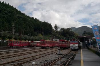 2018年9月9日 9時ころ、千頭、井川線の構内。背後が金谷方です。