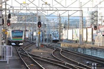 2019年1月2日 7時49分ころ、高崎、発車したE233系のJR上り列車と、到着する上信電鉄のサファリパーク広告電車。