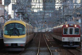 2018年10月6日 16時31分ころ、今里、大阪線の上り特急(回送かも)と大阪線の普通 朝倉ゆき。