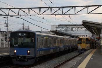 2019年3月2日 17時2分ころ。西所沢。1番ホームに到着した20103Fの上り回送列車。Laview展示会場から池袋方へ回送されました。所沢駅6番線で折り返しでしょうか。