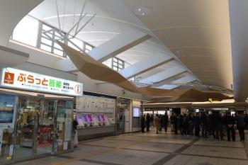 2019年3月9日11時ころ。飯能駅。改札外の自由通路。リニューアルで天井に装飾がついてました。
