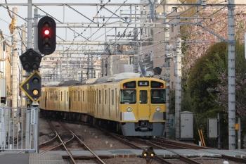 2019年4月14日 6時26分ころ。東長崎。上り4番ホームから発車した2091Fの下り回送列車。