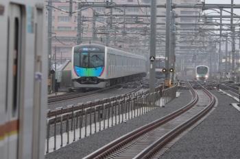 2019年6月10日。石神井公園。池袋方。左から、メトロ10009Fの6301レ、40000系の4654レ、東急5173Fの6604レ、30104Fの4203レ。上り列車は2・3分ほど遅れてたようです。