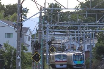 2019年6月16日。元加治。10105Fの下り回送列車と40101Fの2162レ。