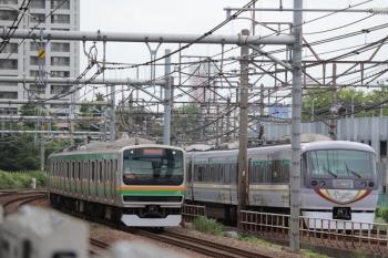 2019年6月23日。西武新宿〜高田馬場。10104Fの163レと南行の湘南新宿ライン。
