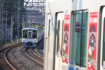 2019年8月4日。西所沢。4003F+4013Fの2002レ(左奥)と30103F(観光広告)の3107レ。