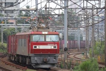 2019年8月31日 11時53分ころ。新大久保。南へ向かうEH500-14牽引のコンテナ貨物列車。